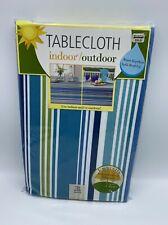 Umbrella Indoor Outdoor Tablecloth with Zipper 70 inch Round Capri Stripe New