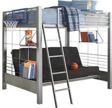 bed frame full metal grey loft bunk bed