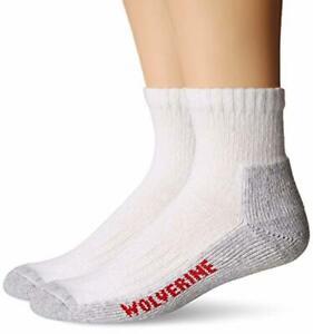 Wolverine Sock Men's 2 Pack Steel Toe Cotton Quarter White L/Shoe Size 9-13