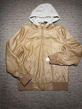 New Mens Ijeans Buffalo Medium M Brown Leather Hoodie Jacket