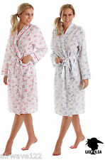 Ladies Floral Poly Cotton Wrap / Robe / Dressing Gown Two Colours And Six Sizes