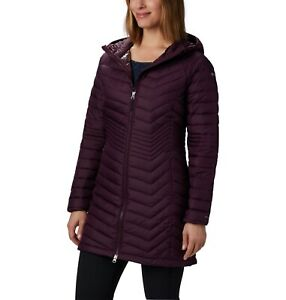 Columbia Powder Lite Mid Jacket Women Hooded Quilted Winter Black Cherry Size XS