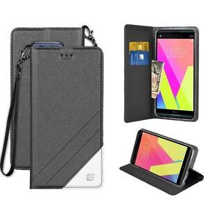 For LG V20 Folio Wallet Pouch ID Flip Case Wristlet Black Kickstand Cover BLACK