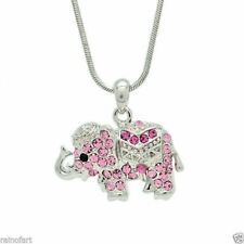 """ELEPHANT Made With Swarovski Crystal Pink Good Luck Necklace Pendant 18"""" Chain"""