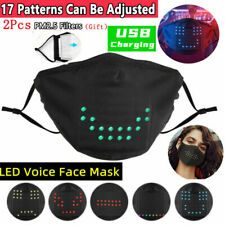 US LED Mask Voice-activated Luminous Mask+2PC Filter Festival Party  DIY Mask