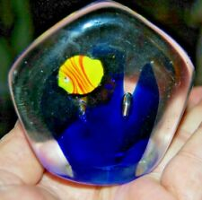 Vintage Fish & Sea Weed Inside Paperweight Meditation Hand Crafted