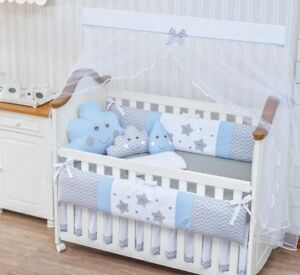 Raindrop Cloud Star Theme Blue Boy 8pc Nursery Crib Bedding Set Embroidered