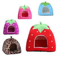 Pet Cat Dog Soft Fleece Strawberry Bed House Warm Cushion Basket XS/S/M/L/XL 116
