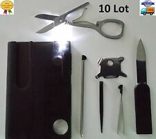 10 Lot Credit Card Knives, 11 in 1 multi tool, wallet thin pocket survival micro
