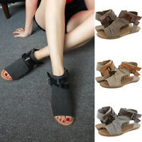 Women Flat Gladiator Sandals Summer Beach Open Toe Canvas Shoes Strap Flip Flops