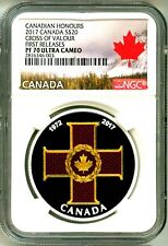 2017 Canada S$20 Canadian Honours Cross Of Valour FR NGC PF70 UC NGC Pop = 1