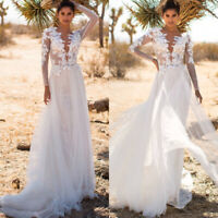 Women Lace White Formal Wedding Long Sleeve Deep V Neck Backless Maxi Long Dress