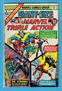 GIANT-SIZE MARVEL TRIPLE ACTION # 1 FNVF (7.0) AVENGERS- GLOSSY CENTS COPY- 1975