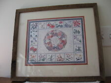 "Quaker Artist Ellen Stouffer Wildflower Sampler Print Barnwood Framed 19""x17"""