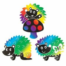 Halloween arte rasguño Imanes Para Refrigerador Manualidades De Niños Relleno Bolsa Fiesta Diversión Calabaza