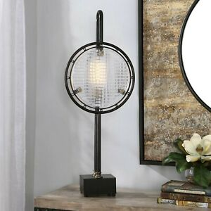 """INDUSTRIAL ERA DECOR AGED METAL TEXTURED GLASS  XL 37"""" ARDELL ACCENT TABLE LAMP"""
