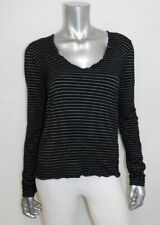 BANANA REPUBLIC Black/White Striped Lettuce Edge V-Neck Long Sleeve Shirt sz M
