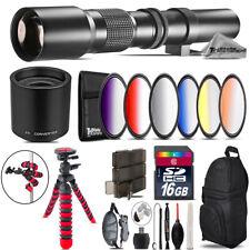 500mm/1000mm Graduated Lens for Rebel T6 T6i + Triple Tripod Bundle - 16GB Kit