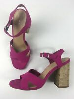 WOMENS NEW LOOK UK 4 EU 37 PINK SUEDETTE ANKLE STRAP HIGH HEELS SANDALS SHOES
