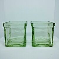 Recycled Green Glass Candle Holders Square Set of 2 Votive Tea Light
