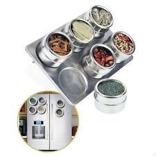 6 Pcs Magnetic Stainless Steel Cruet Condiment Spice Jars Set Pepper and Salt