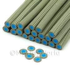 3x Handmade Blue Poker Chip Style 2 Nail Art Canes (enc03)