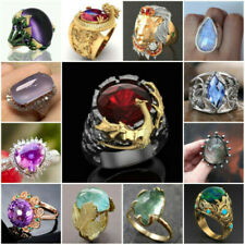 Turkish Handmade 925 Silver Jewelry Large Gemstone Ring Women Men's Wedding Gift