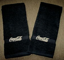 """""""Coca Cola"""" 2 Black Hand towels w/goldtone/tan thread New embroidered"""