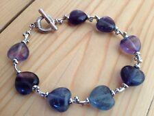 Fluorite Hearts & Kisses Bracelet, crystal healing, Reiki, chakra, gemstone