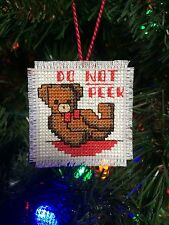 Completed Handmade Cross Stitch Christmas Ornament-Teddy Bear-Don't Peek-New