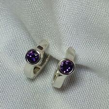 Purple Man Created Amethyst Huggie -  Hoop  Sterling Silver Earrings