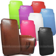 Pull Tab Leather Case Cover Soft Sleeve Pouch For Samsung Various Phone Models