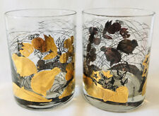 Otagiri Old Fashioned Glasses Rocks Quail Bird Gold Black Barware Mid Century 2
