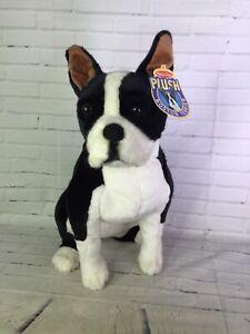 Melissa & Doug Large Realistic Boston Terrier Dog Puppy Plush Stuffed Animal Toy