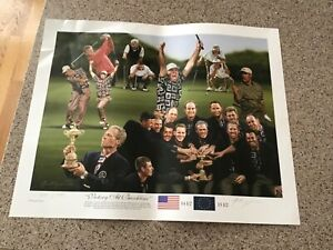 Alan Zuniga Tiger Woods USA 1999 Ryder Cup At Brookline Golf Lithograph Litho