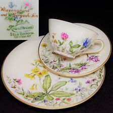 Krautheim Wiesengrund & Bergeshöhn Meadow Flowers German Vintage China Trio Set