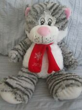 Christmas Holiday Kitten Cat 16 In Plush TABBY Stuffed Toys 2013 Black Gray