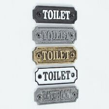 Vintage Victorian Style TOILET BATHROOM Door Sign Cast Iron Period Plaque Metal