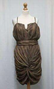Womens Rare London Brown Tan Mini Dress Size 16 Ruched Dress Party Dress  - C24