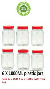 6 X 1000ML Plastic Storage Pet Jars Containers Canisters Pots Screw Top Spice
