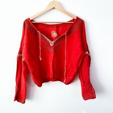 Free People orange embroidered boho crop gauze blouse top bell sleeve small