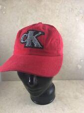 True Vintage Calvin Klein Hat USA made Red W Fuzzy Gray CK Snapback