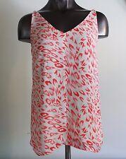 CAbi #267 Women's Flirty Cami Coral Cream Print Sleeveless Tank Top Size XS