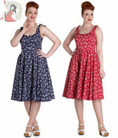 HELL BUNNY 50s MARIN NAUTICAL sailor DRESS NAVY BLUE RED