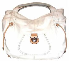 CROMIA White/Beige Leather Shoulder bag Tote Handbag ITALY
