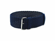 HNS 20MM/22MM Navy Perlon Tropic Braided Woven Watch Strap With Polished Buckle