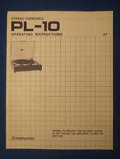 PIONEER PL-10 TURNTABLE OWNER INSTRUCTIONS MANUAL FACTORY ORIGINAL