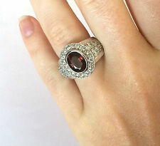 Exquisite 14K OS White Gold Pink Tourmaline 76 Diamond Cocktail Ring NOS