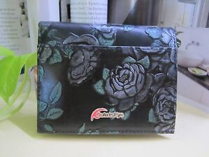 NEW - Ms Green Leafy Rose short Leather Wallet - With Tags