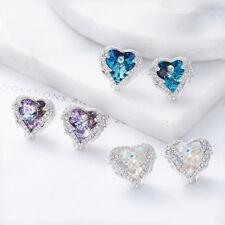 Valentine's 925 Silver Rainbow Heart Titanic Blue Austrian crystal Stud Earrings